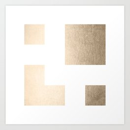 Simply Geometric in White Gold Sands on White Art Print