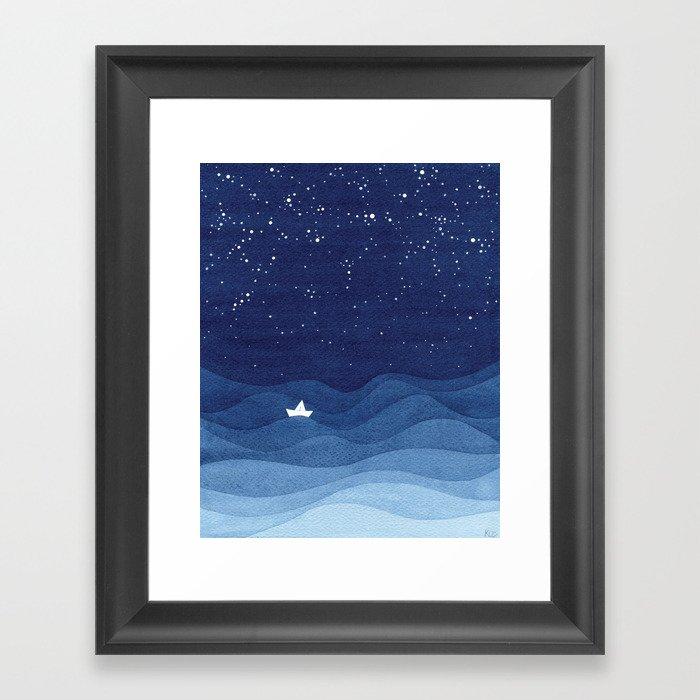 blue ocean waves, sailboat ocean stars Gerahmter Kunstdruck