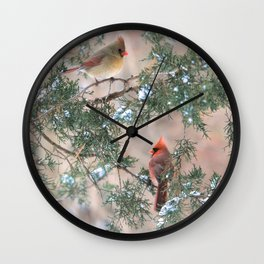 Winter Pair Cardinals (sq) Wall Clock