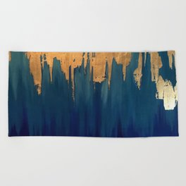 Gold Leaf & Blue Abstract Beach Towel