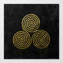 Golden Triple Spiral And Paint Drips On Black Background Canvas Print