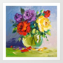 Bright bouquet of roses Art Print