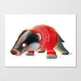 Cosy Badger Canvas Print