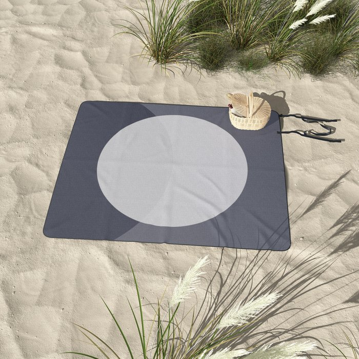 Circle on Navy and Blue Grey Picnic Blanket