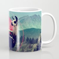 vw bus Mugs featuring Llama by Ali GULEC