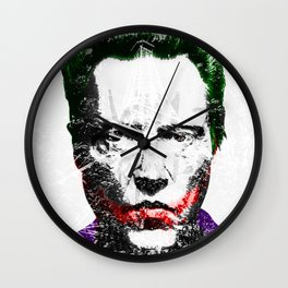 Freak'en Christopher Clown Face   Grey Wall Clock