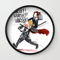 peggy carter Wall Clocks featuring PEGGY CARTER IS WORTHY. by Maryne.