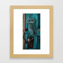 Owl on door knob Framed Art Print