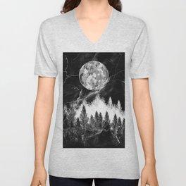 marble black and white landscape Unisex V-Neck