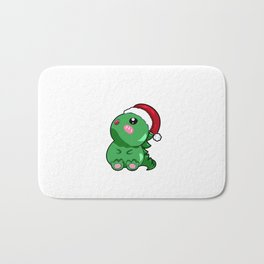 dino dinosaur santa christmas present gift rawr Santa Cartoon Son Daughter Bath Mat