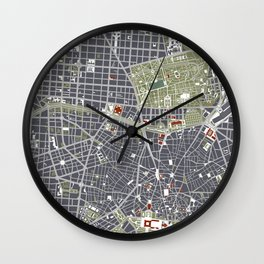 Madrid city map engraving Wall Clock