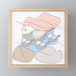 Graphic bird with chicks Framed Mini Art Print
