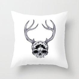 Mandala Skull With Gorgeous Antlers Throw Pillow