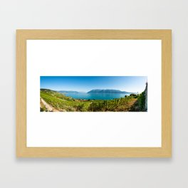 Panorama of vineyards of the UNESCO World Heritage Site of Lavaux Framed Art Print