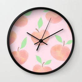 Pastel Pink and Orange Summer Peaches - Wall Clock