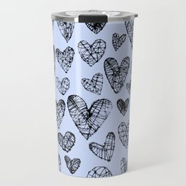 Wire Hearts in Soft Blue Travel Mug