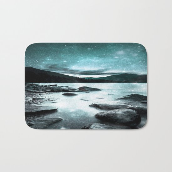 Magical Mountain Lake Teal Ice Bath Mat