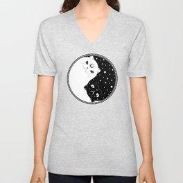 Cartoon black and white cats, yin yang sign Unisex V-Neck