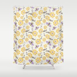 Honey Bees and Flowers - Yellow and Lavender Purple Shower Curtain