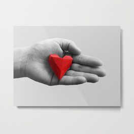 hand with red heart Metal Print