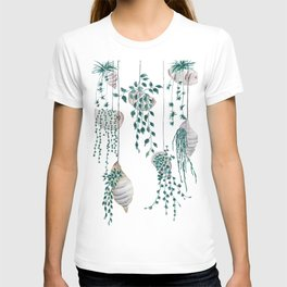 hanging plant in seashell T-shirt