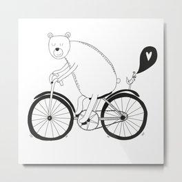 Big bear on bike Metal Print