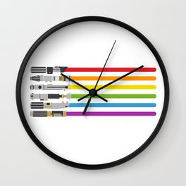 Lightsaber Rainbow Wall Clock