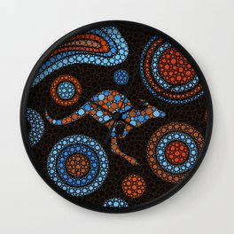 Aboriginal Dot Art Kangaroo Color Wall Clock