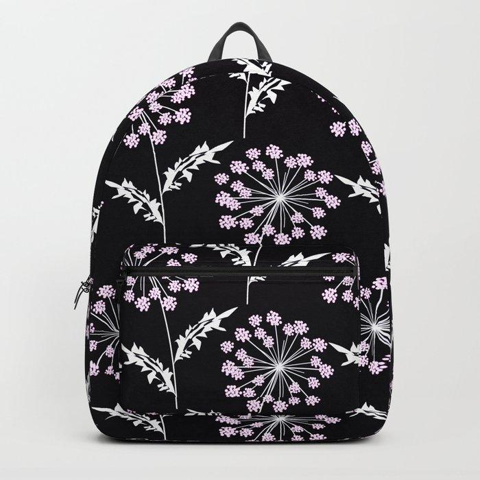 Fishnet pink flowers on a black background. Backpack