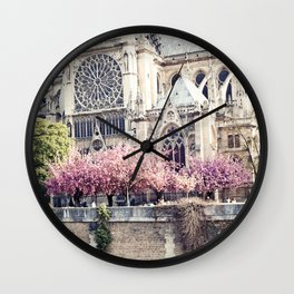 Cherry blossoms in Paris, Notre Dame Viwe Wall Clock
