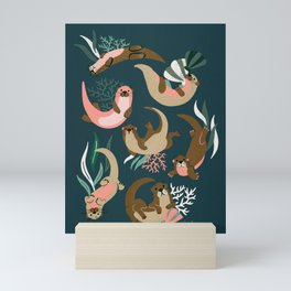 Otter Collection - Teal Palette Mini Art Print