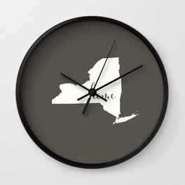 New York is Home - White on Charcoal Wall Clock