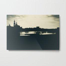 Silhouette des Dresdener Elbufers Metal Print