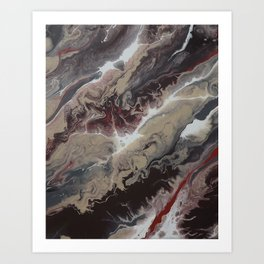 Neutral Black, Red and Brown Painting - Schism Abstract Art Print
