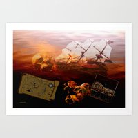 pirates Art Prints featuring Pirates  by valzart