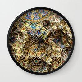 Tile Mosaic Ceiling Entrance Door, Nasir-al-Molk Mosque, Shiraz Wall Clock
