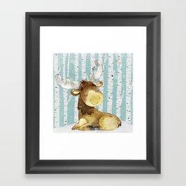 Winter Woodland Friends Deer Moose Snowy Forest Illustration Framed Art Print