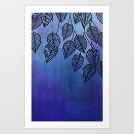 Midnight Blue Garden - watercolor & ink leaves Art Print