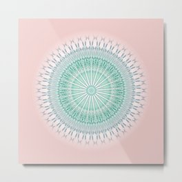 Dusky Pink Green Mandala Metal Print