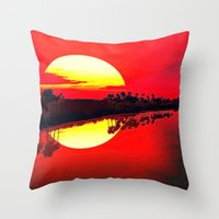 duvet cover Throw Pillows featuring Sunset duvet cover by customgift