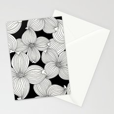 Dogwood Floral Linear: Ivory on Black  Stationery Cards