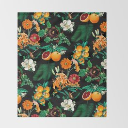 Fruit and Floral Pattern Throw Blanket