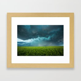 April Showers - Colorful Stormy Sky Over Lush Field in Kansas Framed Art Print