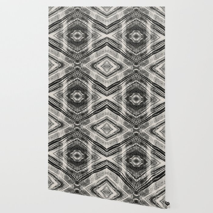 Abstract Marble - Black & Cream Wallpaper