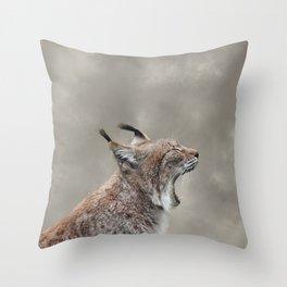 Lynx Yawning, Grunge Cloudy Sky Throw Pillow