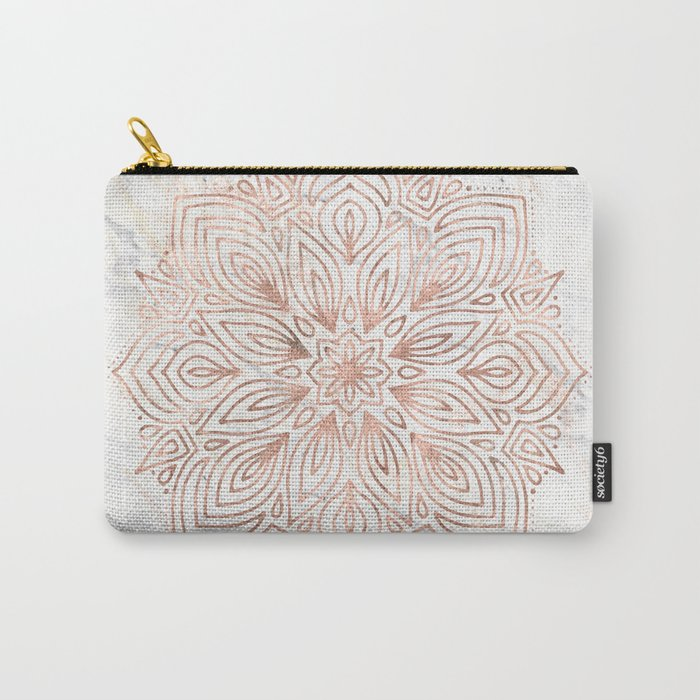 Mandala Rose Gold Quartz on Marble Carry-All Pouch