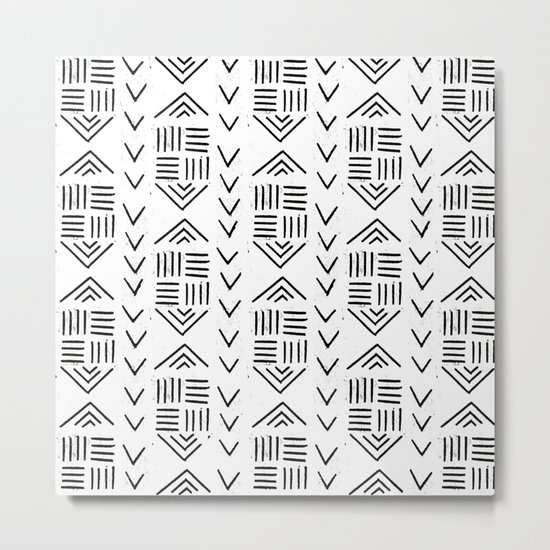 mudcloth 7 minimal textured black and white pattern home decor minimalist Metal Print