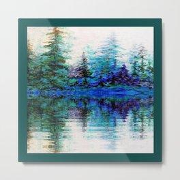 BLUE MOUNTAIN TREES & LAKE REFLECTION Metal Print