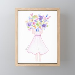 GIRL HOLDING BOUQUET OF FLOWERS / THANK YOU / CONGRATULATIONS / BIRTHDAY Framed Mini Art Print