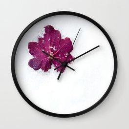 Purple Leaf in Winter Wall Clock